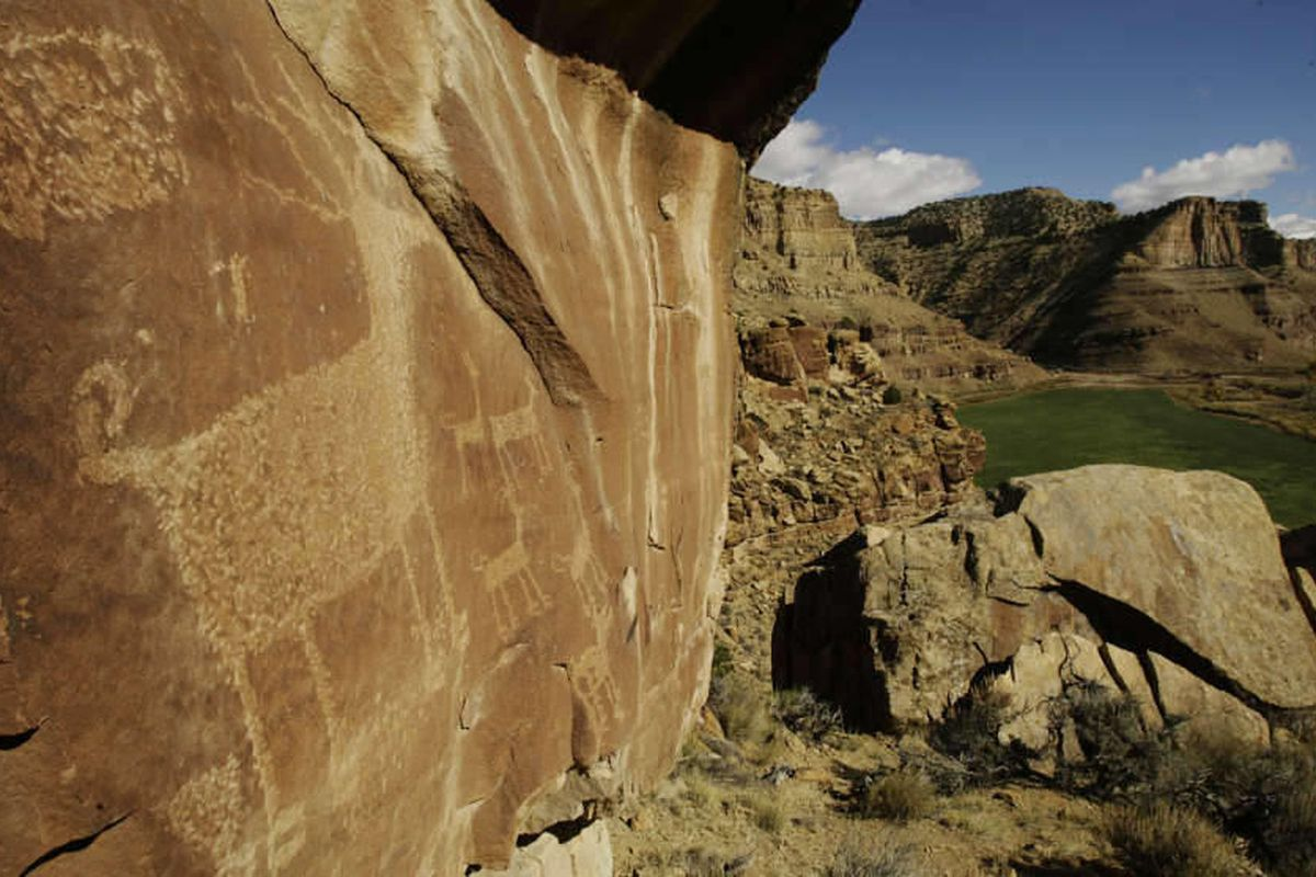 A Gate Canyon site is well preserved in Nine Mile Canyon, Utah, Tuesday, Oct. 26, 2010.  The executive director of a nonprofit archaeology organization says the vandalism that was recently discovered at a primitive rock shelter in Utah's Nine Mile Canyon