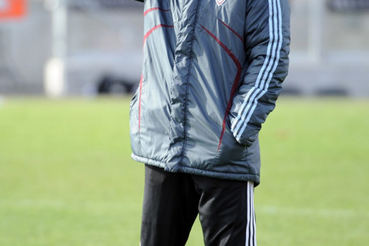 TORONTO - NOVEMBER 20:  Head Coach of the Colorado Rapids Gary Smith watches over practice in preparation for the MLS Cup against FC Dallas at BMO Field on November 20 2010 in Toronto Canada.  (Photo by Harry How/Getty Images)