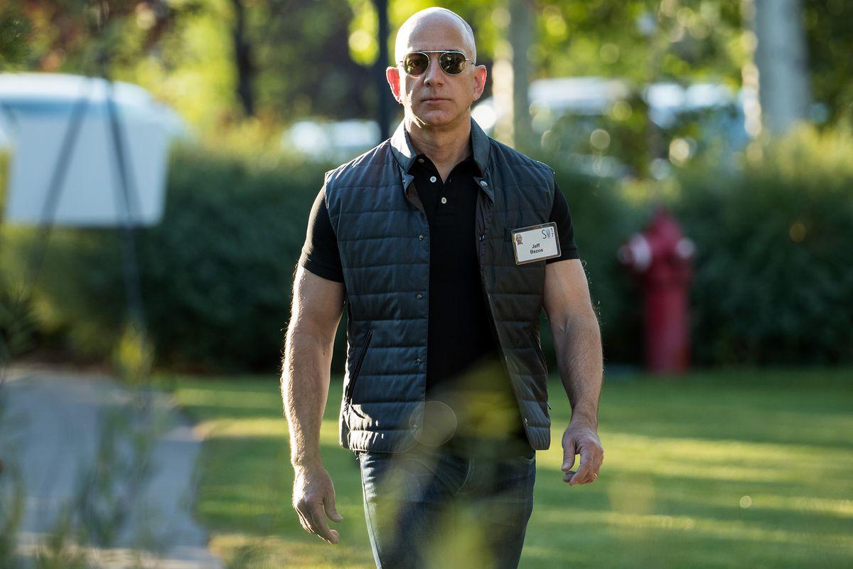 Amazon CEO Jeff Bezos walking toward the camera.
