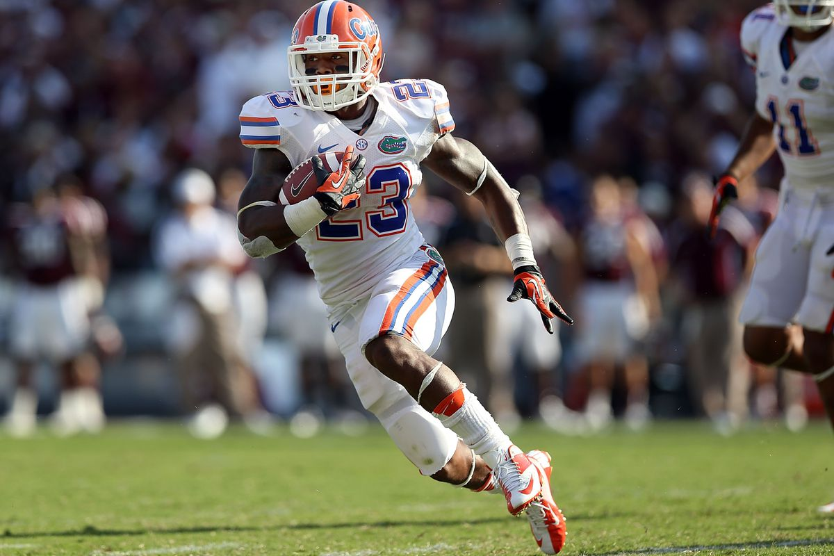 COLLEGE STATION, TX - SEPTEMBER 08:  Mike Gillislee #23 of the Florida Gators runs for a touchdown against the Texas A&M Aggies at Kyle Field on September 8, 2012 in College Station, Texas.  (Photo by Ronald Martinez/Getty Images)