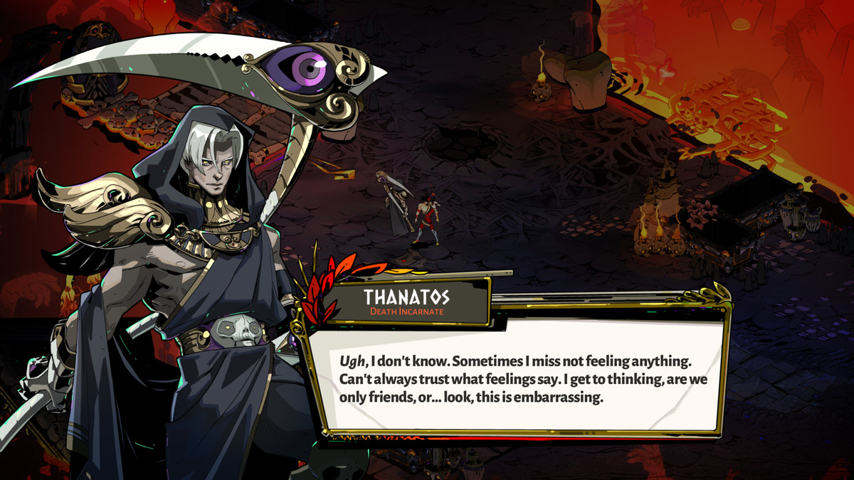 Over time, Thanatos opens up more to Zagreus