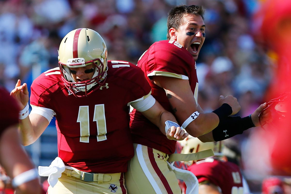 Chase Rettig celebrates a TD with his 28-year-old friend Dave.