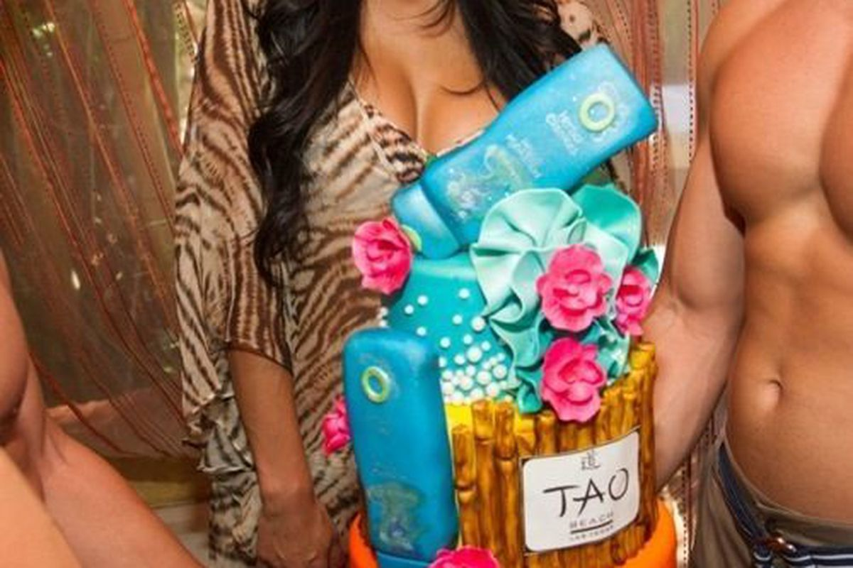 Reality star Nicole Scherzinger with her birthday cake from Gimme Some Sugar at Tao Beach.