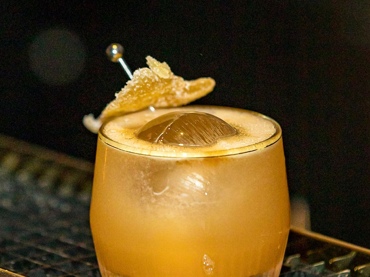 The rum-based Round Midnight cocktail is featured on Sugar Monk's happy hour menu