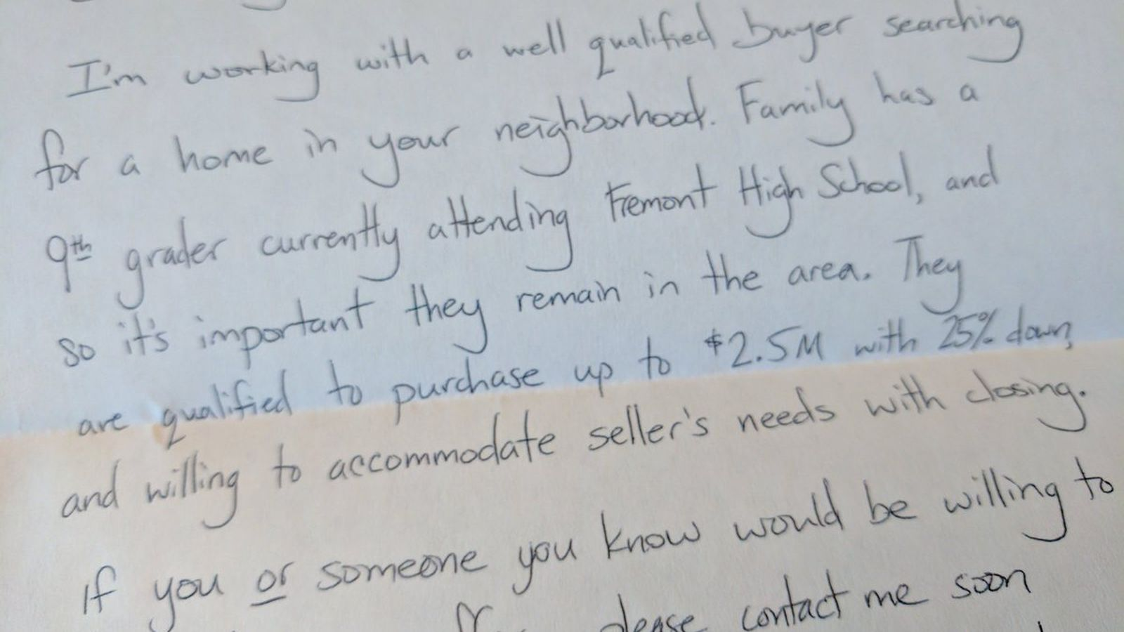 Realtor leaves handwritten letter on Google employee's