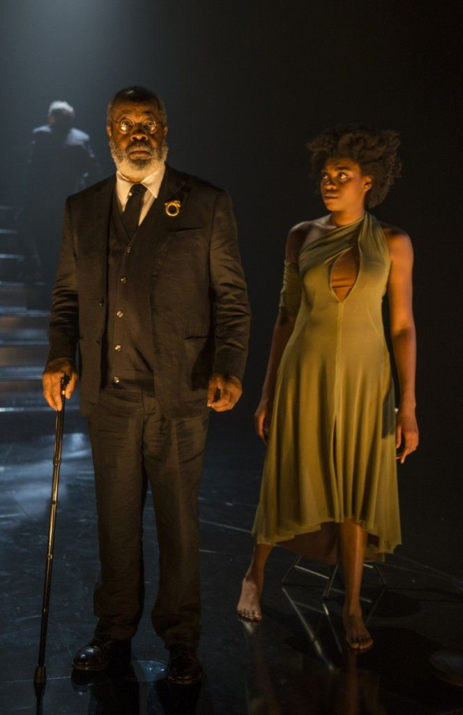 """Alfred H. Wilson is a member of the Chorus, and Adrienne Walker plays Cassandra in the Court Theatre production of """"Agamemnon."""" (Photo: Michael Brosilow)"""
