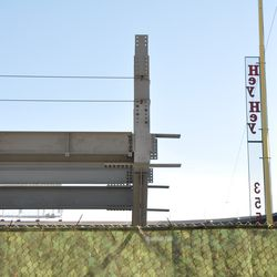 The present gap between the left-field bleacher structure and the foul pole -