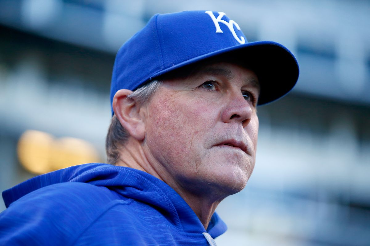 Manager Ned Yost of the Kansas City Royals looks on before Game Two of the 2015 World Series between the Royals and the New York Mets at Kauffman Stadium on October 28, 2015 in Kansas City, Missouri.