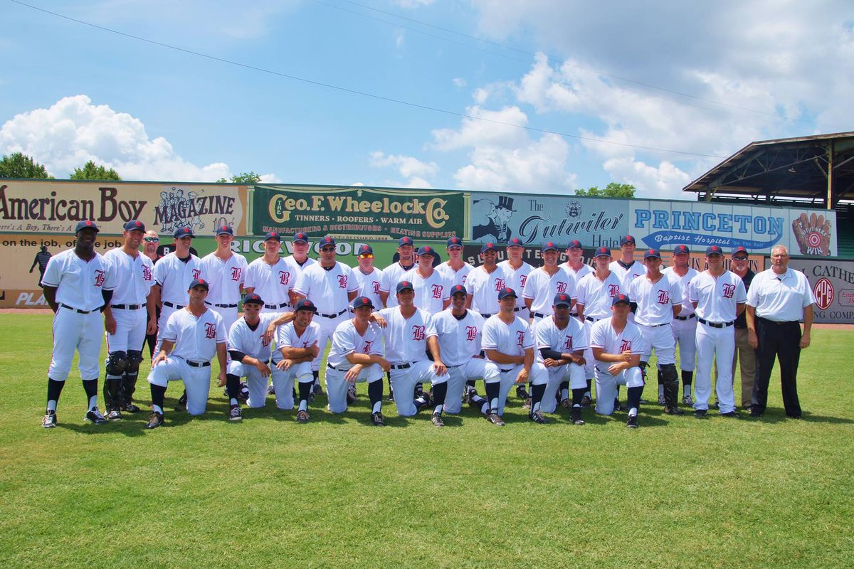 The Birmingham Barons pose for a team photo before the Rickwood Classic