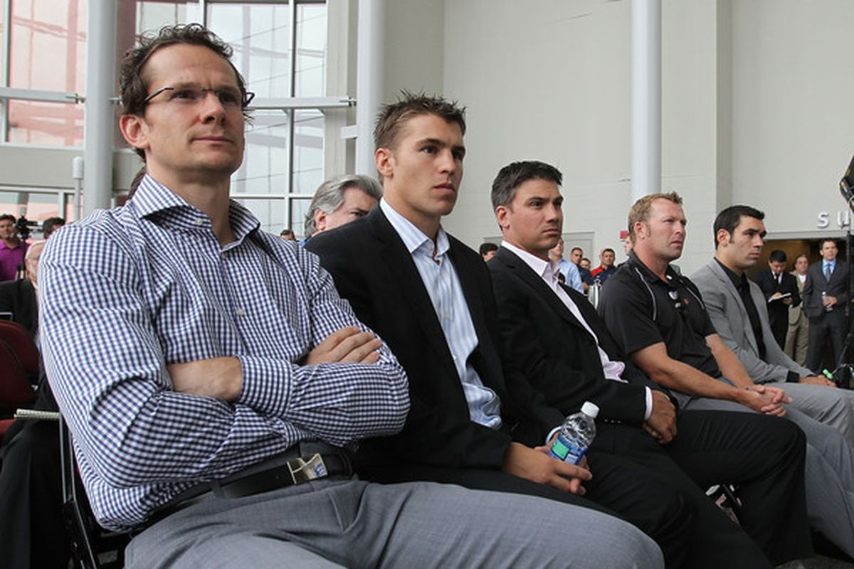 Elias, Parise, Langenbrunner, Brodeur, and Leblond will be doing the same thing here as we all will be: waiting for a decision.  Why not answer an informal poll in the meantime?  (Photo by Bruce Bennett/Getty Images)