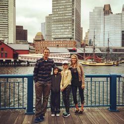 Greg Trimble, his wife Kristyn and their two children on a recent vacation to Boston.