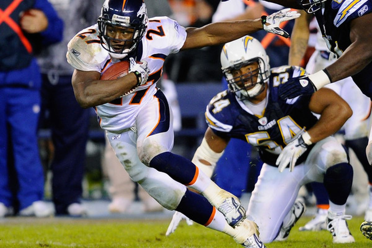 SAN DIEGO - NOVEMBER 22:  Knowshon Moreno #27 of the Denver Broncos rushes against the San Diego Chargers at Qualcomm Stadium on November 22 2010 in San Diego California. Chargers defeated the Broncos 35-14.  (Photo by Kevork Djansezian/Getty Images)