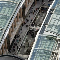Thousands of eager shoppers walk around at the new City Creek mall Thursday, March 22, 2012 in Salt Lake City.