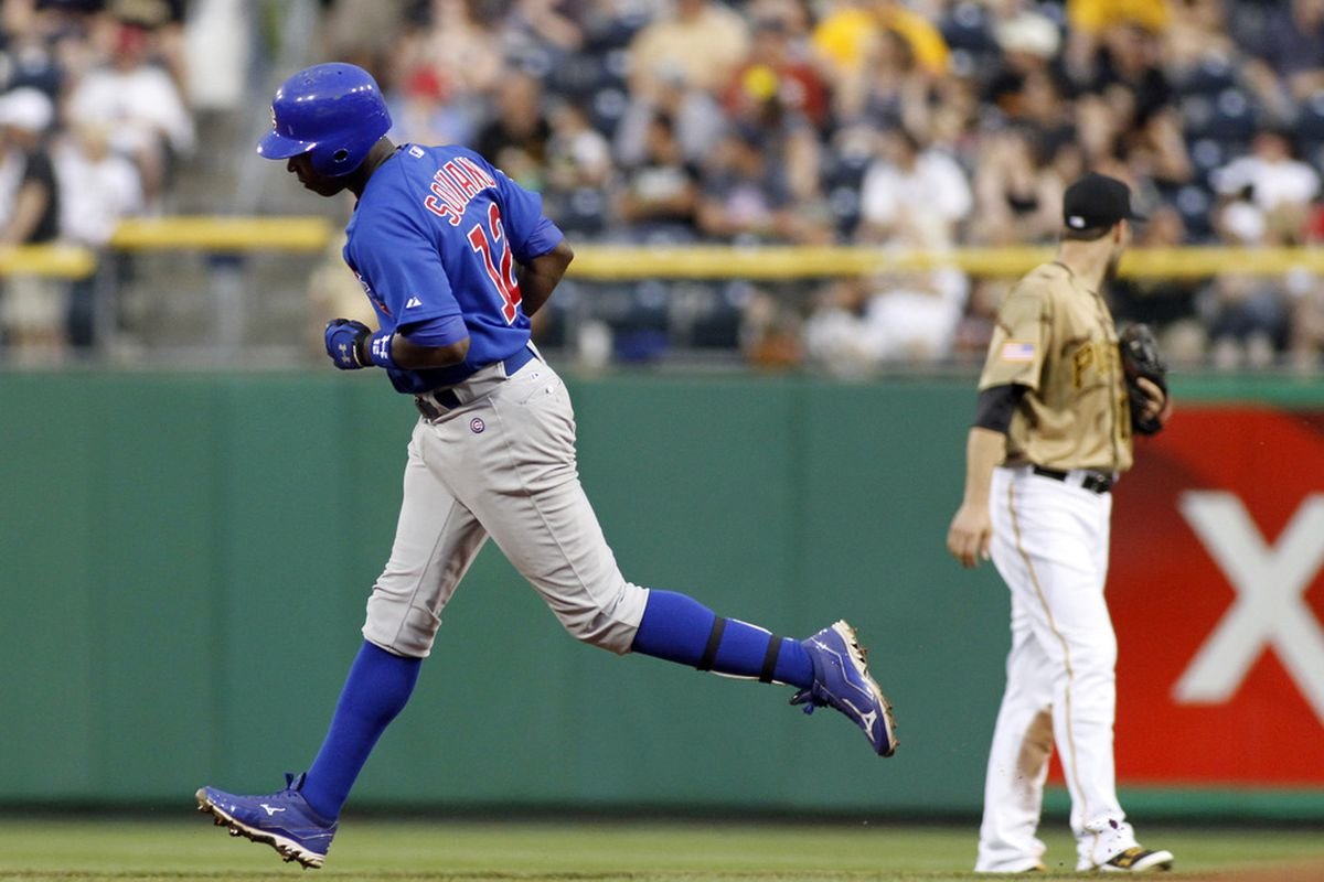 Alfonso Soriano of the Chicago Cubs rounds second after hitting a solo home run against the Pittsburgh Pirates at PNC Park in Pittsburgh, Pennsylvania.  (Photo by Justin K. Aller/Getty Images)