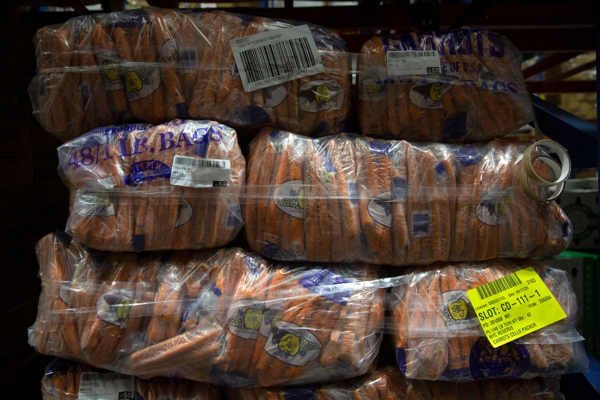 The New Jersey warehouse stores fresh vegetables before they are delivered to New Yorkers.