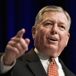 FILE - This Feb. 19, 2010 file photo, shows former Attorney General John Ashcroft in Washington.  Qatar has hired Ashcroft's law firm for $2.5 million to audit its efforts at stopping terrorism funding. Papers filed with the Justice Department's National Security Division on Friday, June 9, 2017, show Ashcroft, will lead the effort.