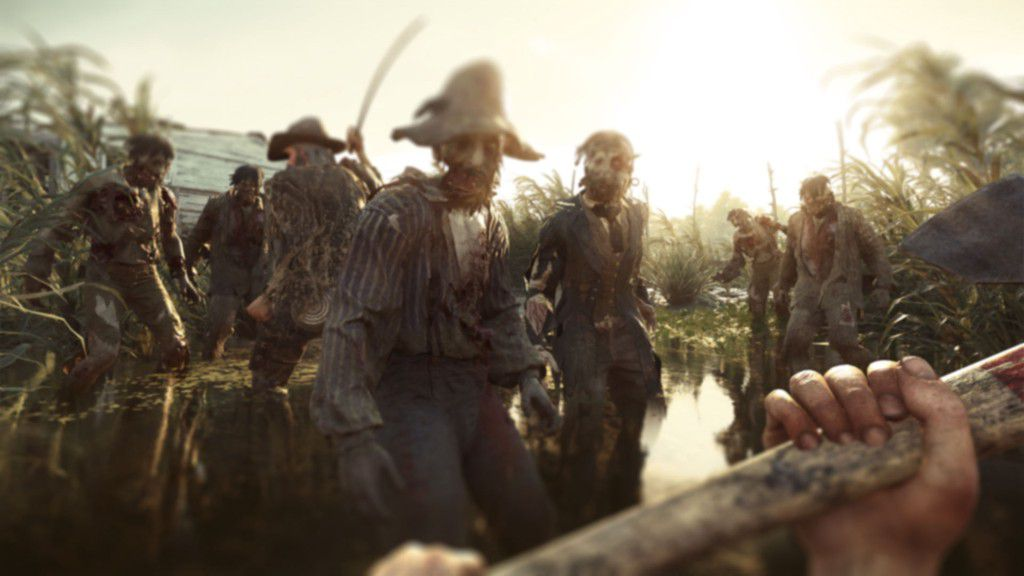 Hunt: Showdown - using a wooden-handled weapon against zombies