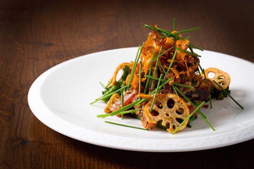 Lotus root at London tasting menu restaurant Trishna, one of the best Indian restaurants in London