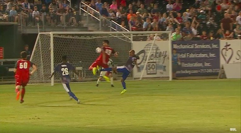 USL Photo - TFC II's Robert Boskovic was called for a handball on this play late in their 3-2 loss to Penn FC