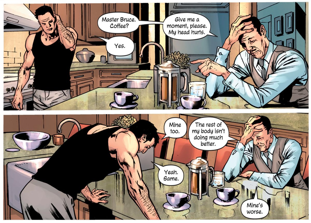 Alfred and Bruce Wayne/Batman suffer from aches and pains gained in very different rough nights, in The Batman's Grave #1, DC Comics (2019).