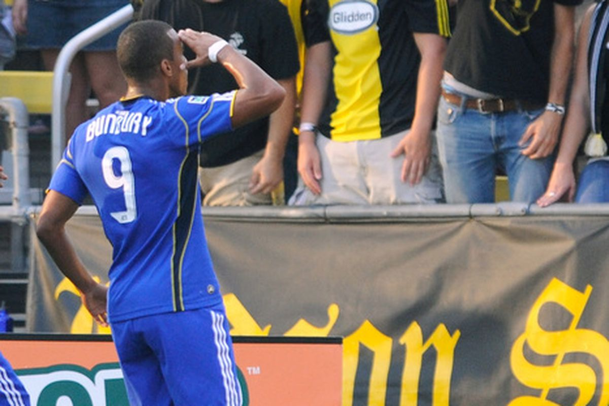 COLUMBUS OH - JULY 14:  Teal Bunbury #9 of the Kansas City Wizards salutes the Columbus Crew fans after scoring a first half goal against the Crew on July 14 2010 at Crew Stadium in Columbus Ohio.  (Photo by Jamie Sabau/Getty Images)