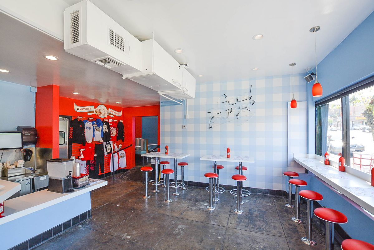 Blue and white checkered walls and red stools.