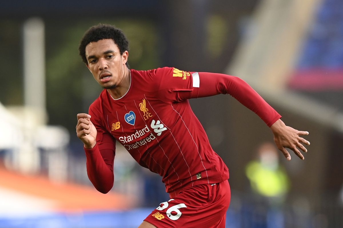 Trent Alexander-Arnold of Liverpool runs with ball during the Premier League match between Everton FC and Liverpool FC at Goodison Park on June 21, 2020 in Liverpool, England.