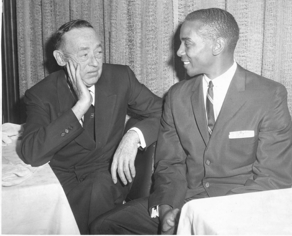 Cubs' owner P.K. Wrigley (left) chats with Ernie Banks at team's annual luncheon in 1962.   Sun-Times library