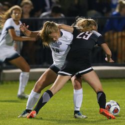 BYU Danika Bowman (14) and UNLV Lily Sender (29) battle for the ball as BYU and UNLV play in the first round of the NCAA tournament in Provo on Friday, Nov. 11, 2016.
