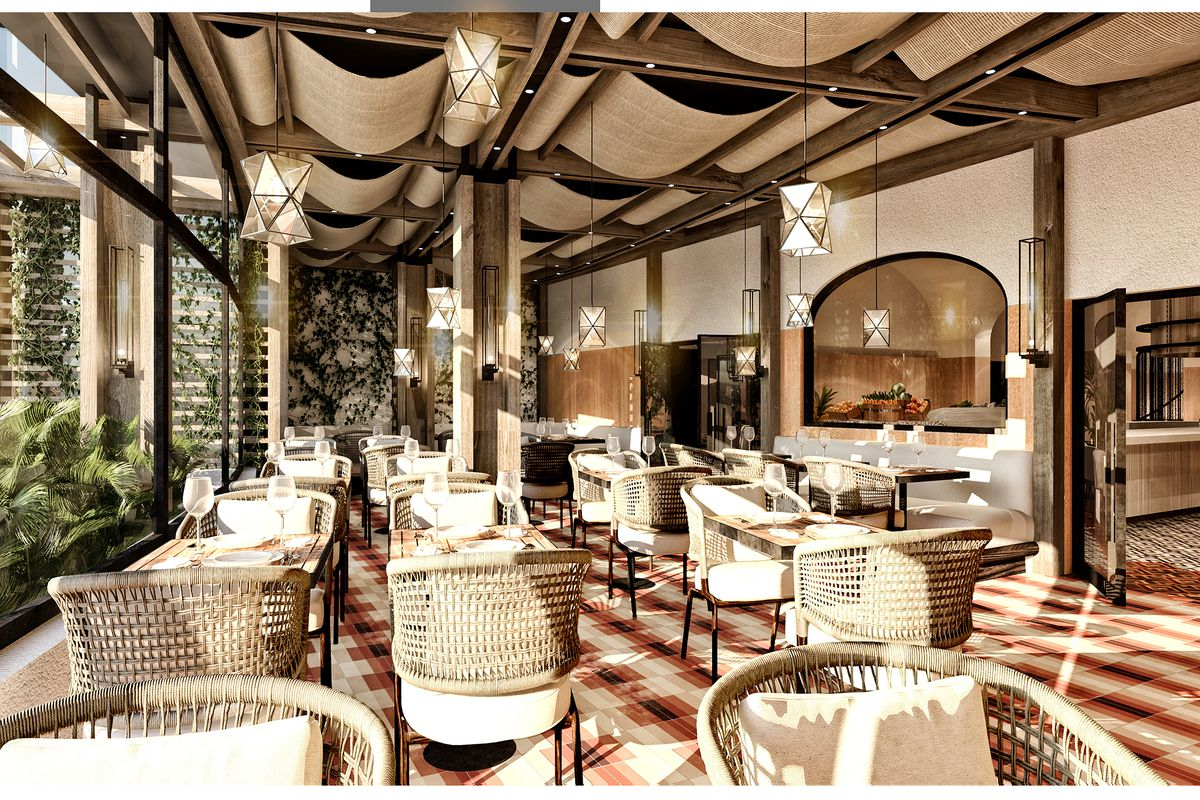 A rendering of the patio at Shark