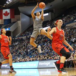 UConn�s Gabby Williams (15) goes in for a layup at the XL Center in Hartford, CT on November 19, 2017.