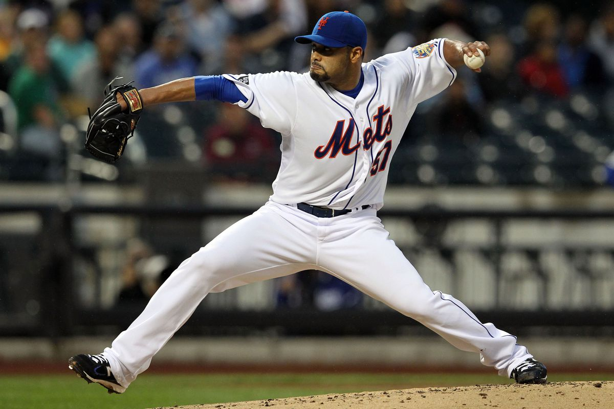 July 20, 2012; New York, NY, USA; New York Mets pitcher Johan Santana (57) throws a pitch during the second inning of a game against the Los Angeles Dodgers at Citi Field. Mandatory Credit: Brad Penner-US PRESSWIRE