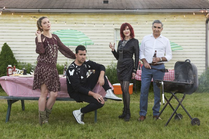 Pop TV's Schitt's Creek stars Catherine O'Hara, Eugene Levy, Annie Murphy, and Dan Levy