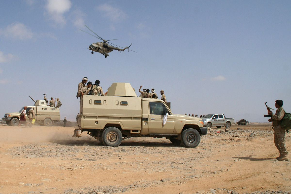 A May 2014 photo shows the Yemeni military leading an offensive against al-Qaeda in southern Yemen