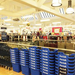 Neatly stacked baskets, ready to be filled with designer deals.