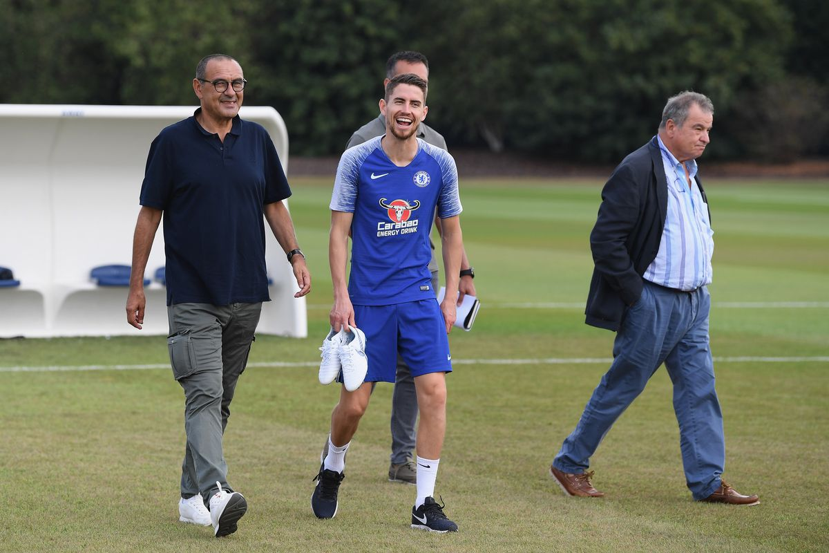 Image result for chelsea training with sarri