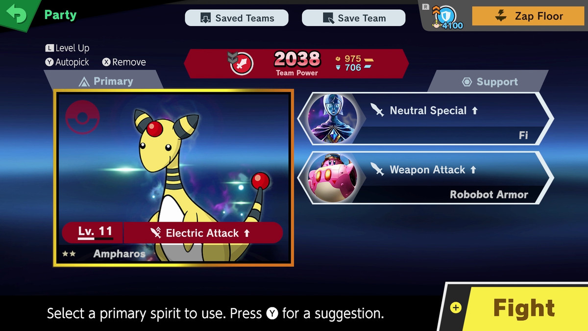 A spirit in super smash bros ultimate, along with support spirits