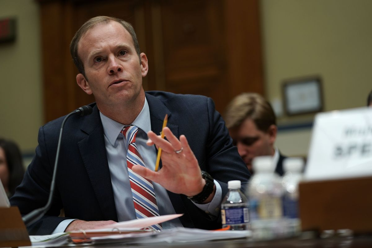 Now-former FEMA Administrator Brock Long testifies before the House Oversight Committee in November 2018.