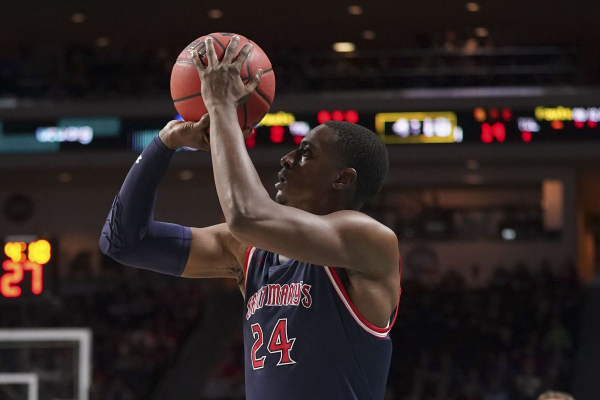 Saint Mary's Gaels forward Malik Fitts shoots the basketball against the BYU Cougars during the first half during the semifinal game in the WCC Basketball Championships at Orleans Arena.