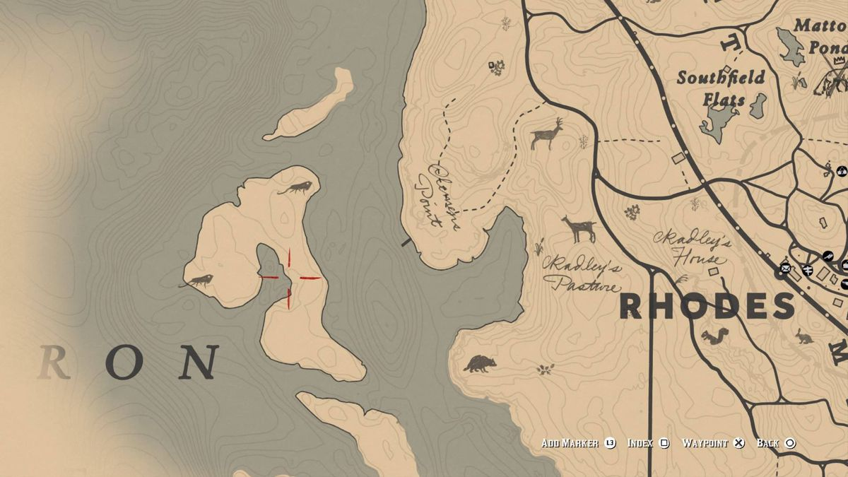 Red Dead Redemption 2 - in-game map showing the island on which you can find iguanas