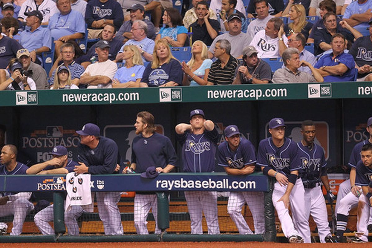 ST. PETERSBURG, FL - OCTOBER 12:  Sports is all about managing highs and lows. Nobody personified that credo more than the 2010 Tampa Bay Rays (Photo by Mike Ehrmann/Getty Images)