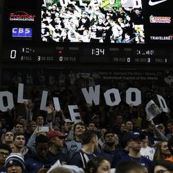 The UConn student section before the Columbia Lions vs UConn Huskies men's college basketball game at Gampel Pavilion in Storrs, CT on November 29, 2017.