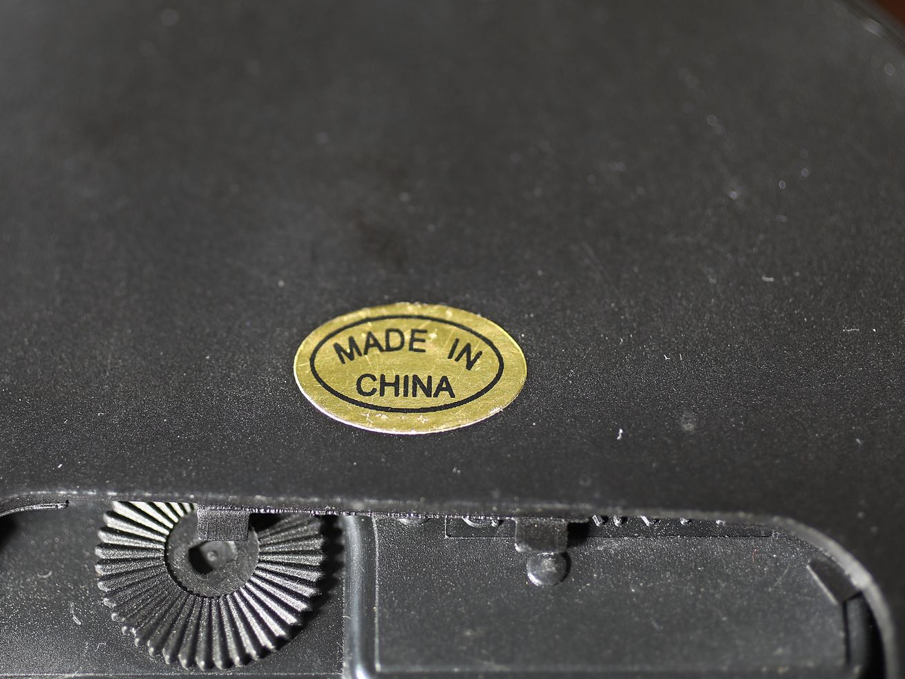 "A ""Made in China"" sticker on a Chinese product."