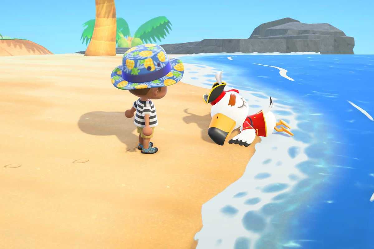An Animal Crossing villagers stares at a knocked-out seagull in a pirate costume