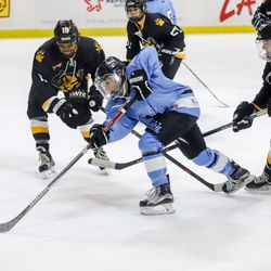 Buffalo Beauts forward Kristin Lewicki uses her speed and her hands to split the defenders in a NWHL game versus the Boston Pride at HarborCenter in Buffalo, NY on Nov. 11th, 2017.
