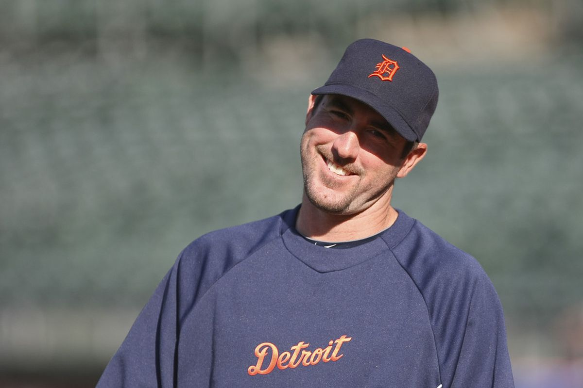 May 10, 2012; Oakland, CA, USA; Detroit Tigers starting pitcher Justin Verlander (35) smiles before the game against the Oakland Athletics at O.co Coliseum. Mandatory Credit: Kelley L Cox-US PRESSWIRE