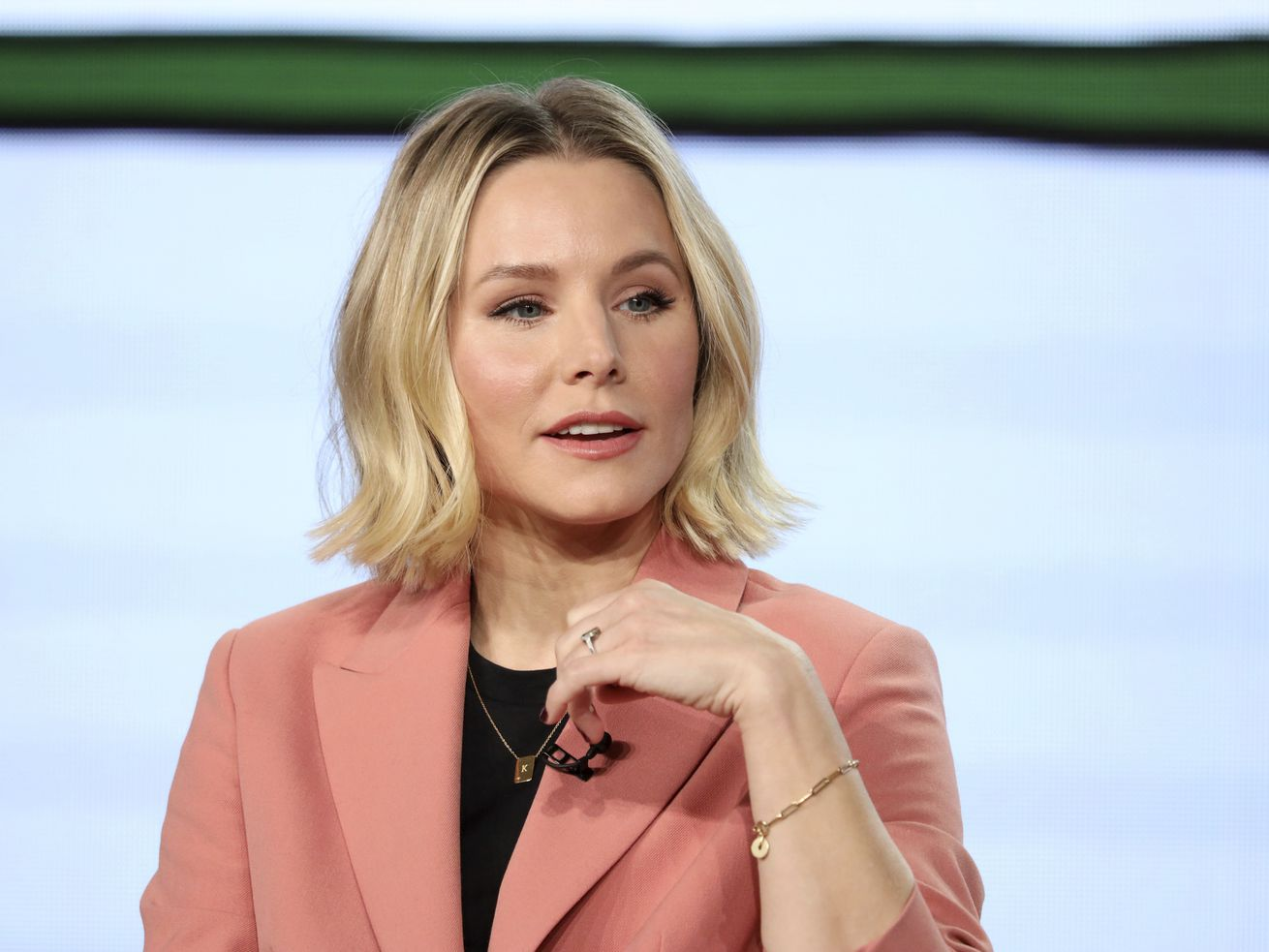 "Kristen Bell speaks at the ""Central Park,"" panel during the Apple+ TCA 2020 Winter Press Tour at the Langham Huntington, Sunday, Jan. 19, 2020, in Pasadena, Calif. (Photo by Willy Sanjuan/Invision/AP)"