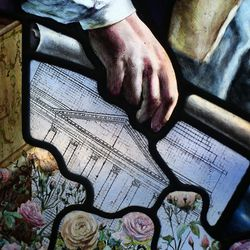 """Thomas Jefferson holds his sketch of the rotunda at the University of Virginia in a section of """"Roots of Knowledge"""" at Holdman Studios at Thanksgiving Point in Lehi on Friday, Sept. 16, 2016. A Guardian UK reporter called the work """"one of the most spectacular stained glass windows made in the past century."""""""