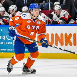 Syracuse Crunch Nolan Valleau (8) on the ice against the Belleville Senators in American Hockey League (AHL) action at the War Memorial Arena in Syracuse, New York on Friday, January 18, 2019. Syracuse won 5-3.