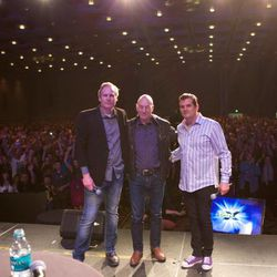 Salt Lake Comic Con co-founders Dan Farr and Bryan Brandenburg with Sir Patrick Stewart (center) on Saturday afternoon.